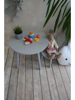 Okrągły stolik + krzesło szary