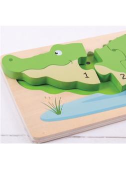 Drewniane puzzle krokodyl