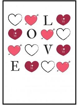 Plakat walentynkowy A4 love