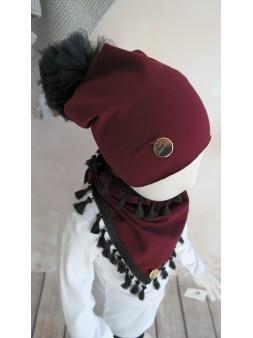 Komplet czapka + chusta bordo