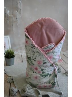 Rożek velvet + bawełna - róże