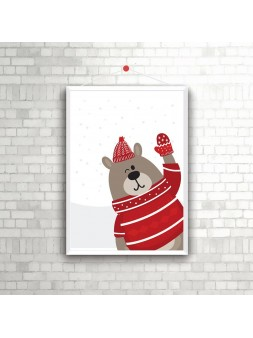 Świąteczny plakat  A4/A3 Misiu